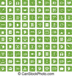 100 knowledge icons set grunge green