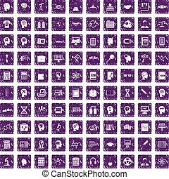 100 knowledge icons set grunge purple