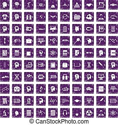 100 knowledge icons set grunge purple