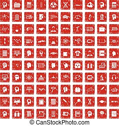 100 knowledge icons set grunge red