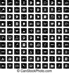 100 knowledge icons set, grunge style