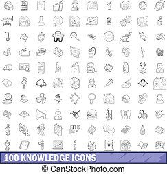 100 knowledge icons set, outline style