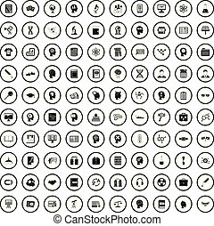 100 knowledge icons set, simple style