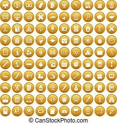 100, komplet, kalkulator, złoty, ikony