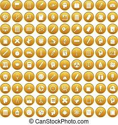 100, komplet, nauka, złoty, ikony