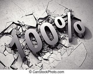 100%, korting, breuken, beton, oppervlakte