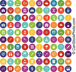 100 lab icons set color