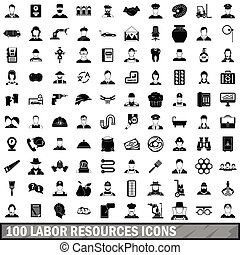 100 labor resources icons set, simple style - 100 labor...