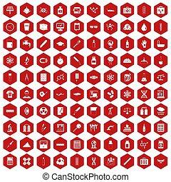100 laboratory icons hexagon red