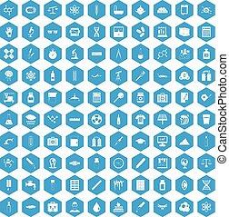 100 laboratory icons set blue
