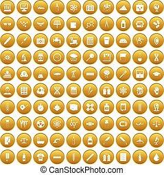 100 laboratory icons set gold
