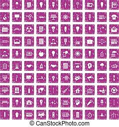 100 lamp icons set grunge pink