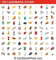 100 landmark icons set, isometric 3d style