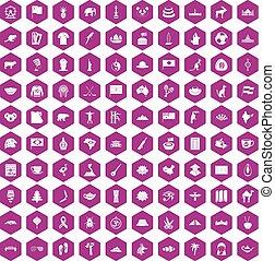 100 landmarks icons hexagon violet