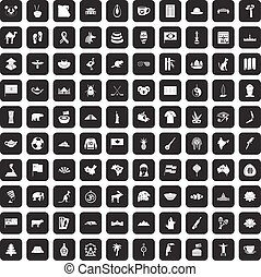 100 landmarks icons set black