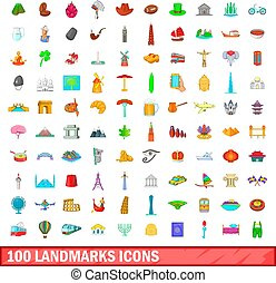 100 landmarks icons set, cartoon style