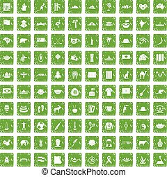 100 landmarks icons set grunge green