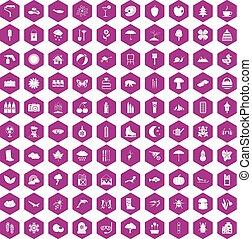 100 landscape icons hexagon violet