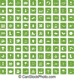 100 landscape icons set grunge green