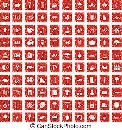 100 landscape icons set grunge red