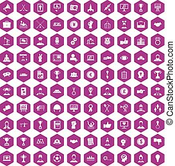 100 leadership icons hexagon violet