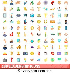 100 leadership icons set, cartoon style