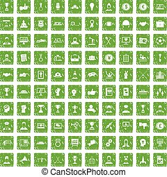 100 leadership icons set grunge green