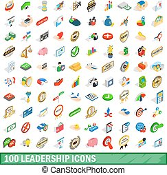 100 leadership icons set, isometric 3d style