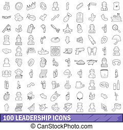 100 leadership icons set, outline style