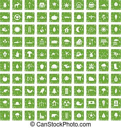 100 leaf icons set grunge green