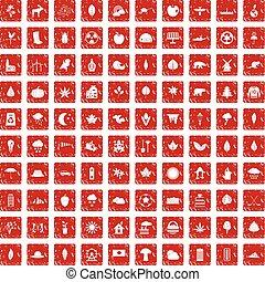 100 leaf icons set grunge red