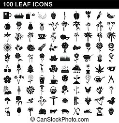 100 leaf icons set, simple style