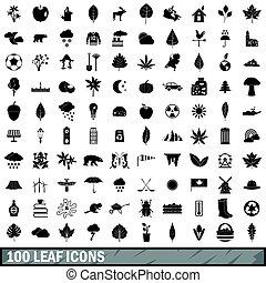 100 leaf icons set, simple style