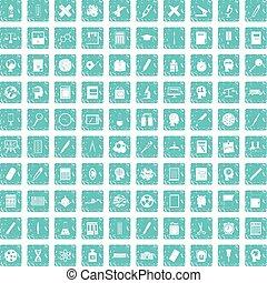 100 learning icons set grunge blue
