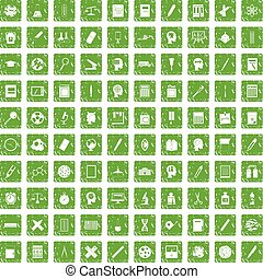 100 learning icons set grunge green