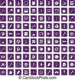 100 learning icons set grunge purple