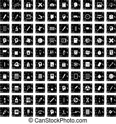 100 learning icons set, grunge style