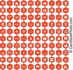 100 learning kids icons hexagon orange