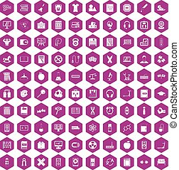 100 learning kids icons hexagon violet