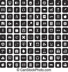 100 learning kids icons set black
