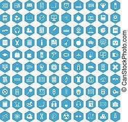 100 learning kids icons set blue