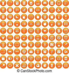 100 learning kids icons set orange