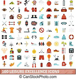100 leisure excellence icons set, flat style