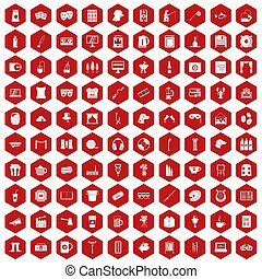 100 leisure icons hexagon red