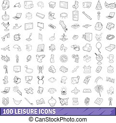 100 leisure icons set, outline style