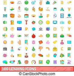 100 lending icons set, cartoon style