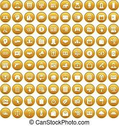 100 lending icons set gold - 100 lending icons set in gold ...