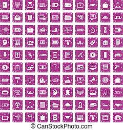 100 lending icons set grunge pink