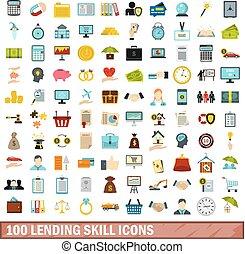 100 lending skill icons set, flat style