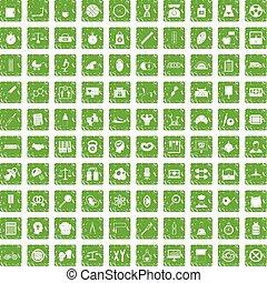 100 libra icons set grunge green